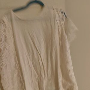 Loft White top with lace sleeves